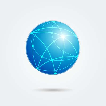 global network connection emblem. vector illustration