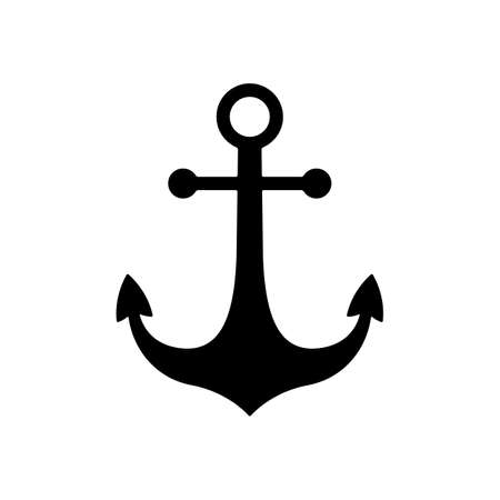 black nautical anchor icon. anchor symbol or sign. isolated on white background. vector illustration