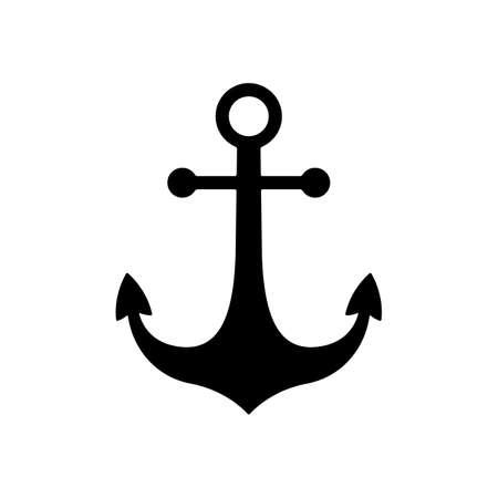 Zwarte nautische anker pictogram. anker symbool of teken. geïsoleerd op een witte achtergrond. vector illustratie Stockfoto - 37499685