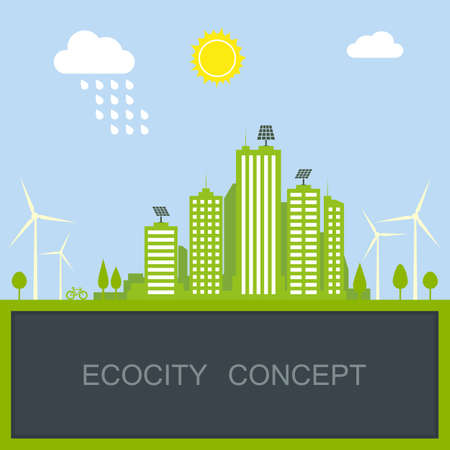 sustainable city concept with green modern building, windmill and solar panel. vector illustration