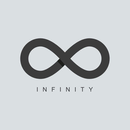 infinity icon: infinity symbol or sign icon template. isolated on grey background. overlapping technique. vector illustration
