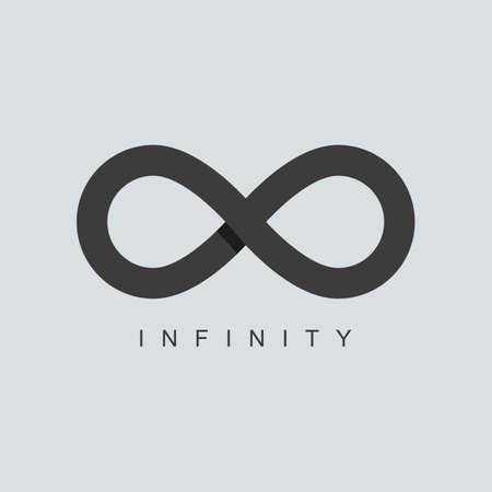 signo infinito: símbolo de infinito o signo icono de plantilla. aislado sobre fondo gris. técnica de superposición. ilustración vectorial Vectores