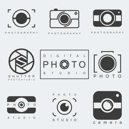 black photography icon set isolated on white background. photo studio emblem. camera pictogram or sign. vector illustration