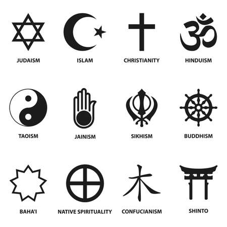 simbolos religiosos: signo mundo religioso y símbolos de colección, aislados en fondo blanco. ilustración vectorial