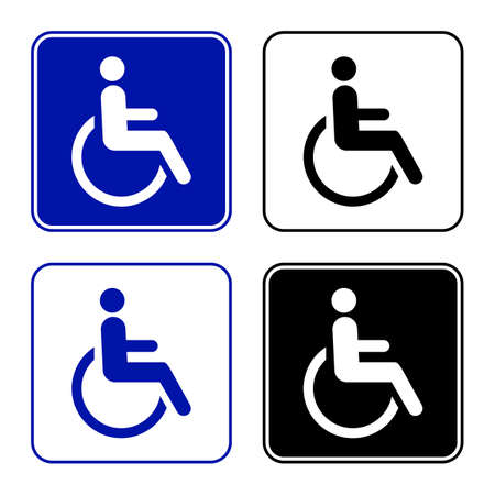disabled parking sign: disabled handicap icon wheelchair sign.  Illustration