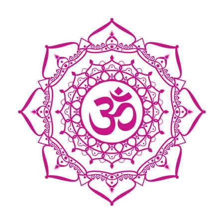 om symbol aum sign with decorative indian ornament mandala isolated on white background.