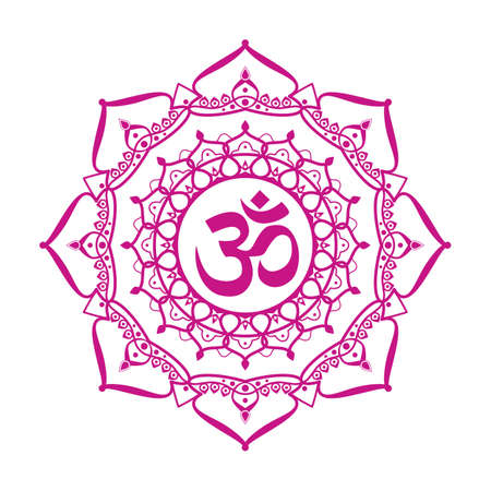 aum: om symbol aum sign with decorative indian ornament mandala isolated on white background.