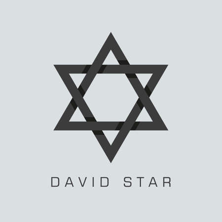 israelite: david star symbol or sign. isolated on grey background.