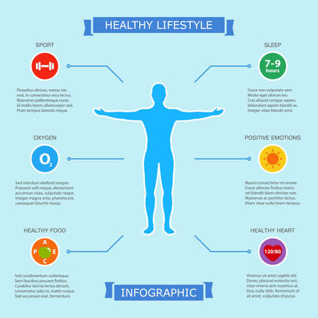 healthy lifestyle infographic with human body showing six easy way to be health and beauty. infographic design on blue background. vector illustration