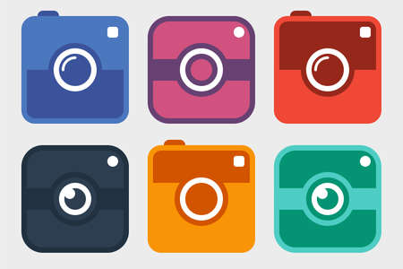 social icon: hipster photo camera icon set. six colorful different photo camera pictogram in trendy flat style isolated on white background. vector illustration Illustration