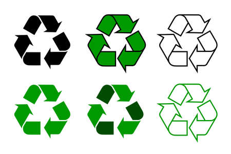 recycle icon: recycle symbol or sign set isolated on white background. this symbol may be used to designate recyclable materials. vector illustration