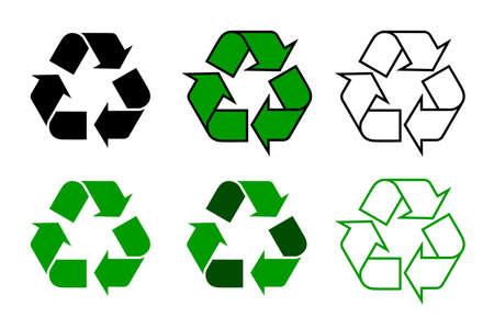 ricicla il simbolo o segno set isolato su sfondo bianco. questo simbolo può essere utilizzato per designare materiali riciclabili. illustrazione vettoriale
