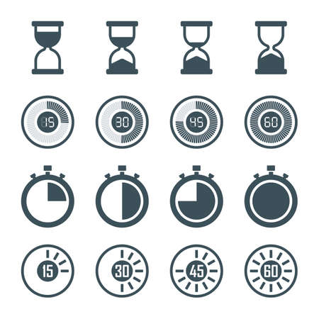 digital timer: timer, digital timer, stopwatch, hourglass icons set in flat style, isolated on white background. vector illustration Illustration
