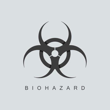 riesgo biologico: símbolo o señal de peligro biológico. aislado sobre fondo gris. técnica de superposición. ilustración vectorial