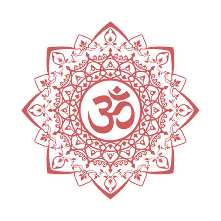 om symbol, aum sign, with decorative indian ornament mandala, isolated on white background. vector illustration Иллюстрация