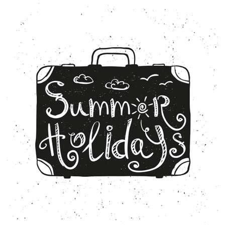 maleta: maleta con dibujado a mano, cartel de la tipografía del doodle. vacaciones de verano, vacaciones de verano, tiempo para viajar. ilustración vectorial