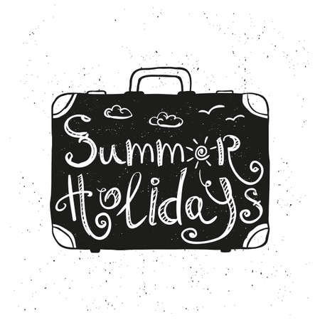 vacation time: suitcase with hand drawn, doodle typography poster. summer holidays, summer vacation, time to travel. vector illustration Illustration