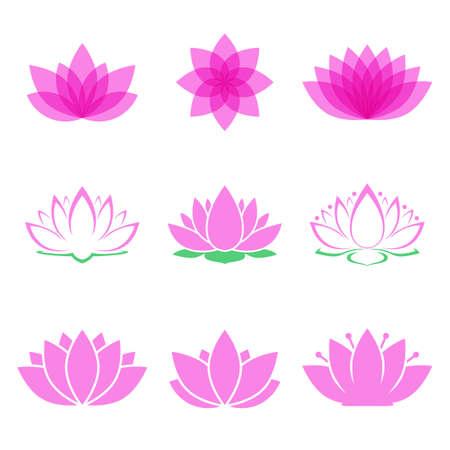 flor de loto: Conjunto de la flor de loto. s�mbolo de loto o el icono de sal�n spa, clases de yoga o industria del bienestar. aislado en el fondo blanco. ilustraci�n vectorial Vectores