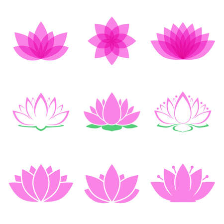 wellness background: lotus flower set. lotus symbol or icon for spa salon, yoga class or wellness industry. isolated on white background. vector illustration