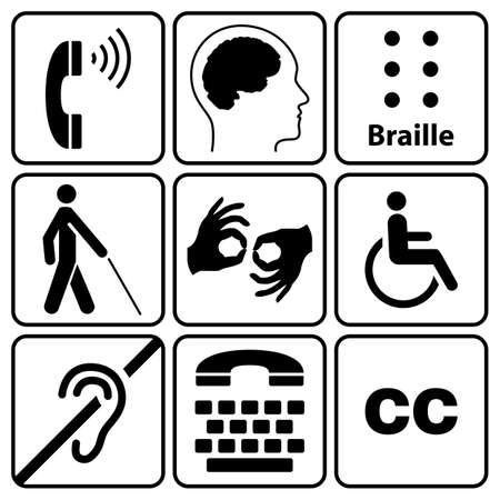 black disability symbols and signs collection, may be used to publicize accessibility of places, and other activities for people with various disabilities.vector illustration Ilustracja