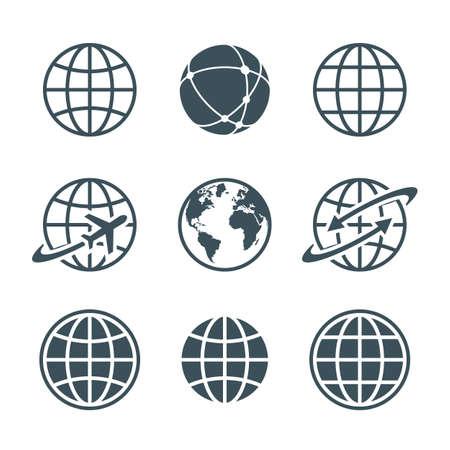 globe: bol, aarde, wereld pictogrammen instellen op een witte achtergrond. bal draad, wereldbol en vliegtuig, wereldbol met pijl. vector illustratie Stock Illustratie