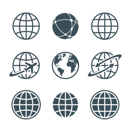 globe, earth, world icons set isolated on white background. ball wire, globe and airplane, globe with arrow. vector illustration