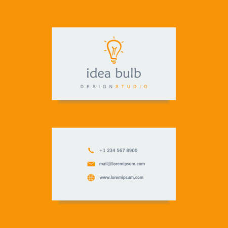 design studio business card template, with hand drawn light bulb. company and corporate, clean and minimalistic flat style. vector illustration