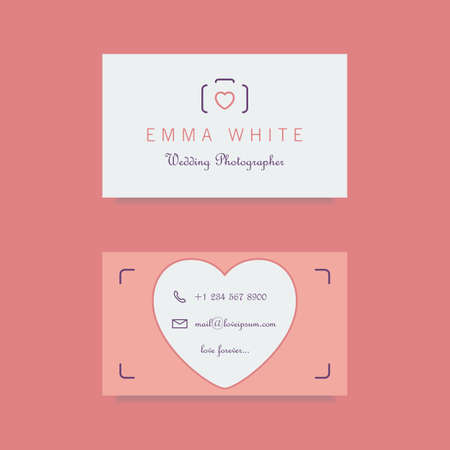 visit: wedding photographer business card template. clean and minimalistic flat style. vector illustration