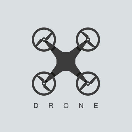 drone or quadcopter icon. isolated on grey background. overlapping technique. vector illustration Çizim