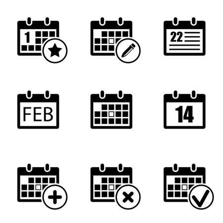 calendar icons set. isolated on white background. vector illustration Çizim