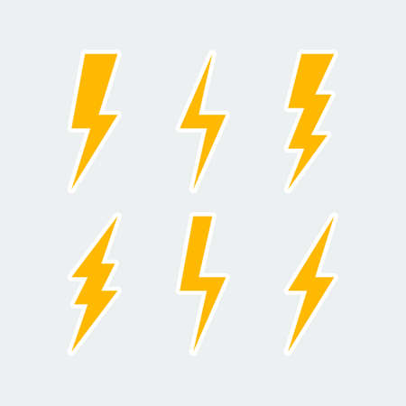 lightning bolt icons set, thunderbolt sign or flash symbol. isolated on grey background. vector illustration