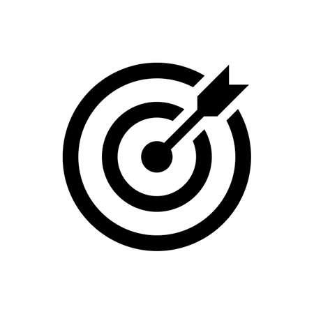 proposito: icono de destino. tiro acertado en la diana de dardos. aislado sobre fondo blanco. ilustración vectorial