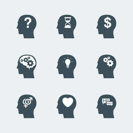 relation: human head icons set. symbol of thinking process and idea concept, relation and communication, time and money concept. vector illustration
