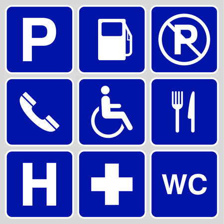 pictogram attention: blue parking symbols and signs collection, may be used to publicize of parking areas. vector illustration