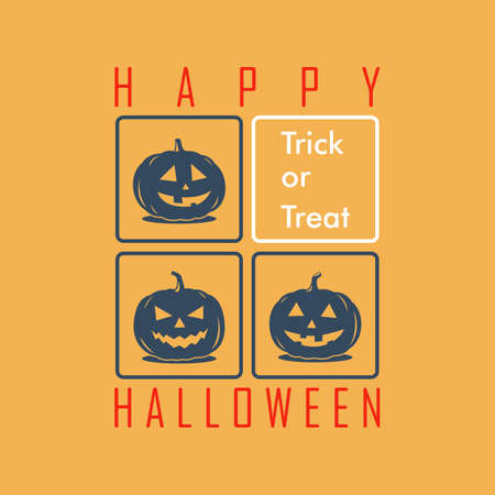 happy halloween greeting card or poster, with cartoon pumpkins. cute and funny characters. vector illustration