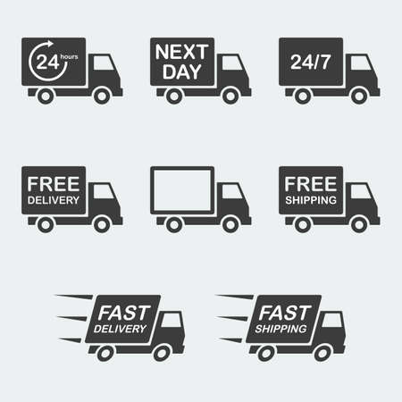 shipping package: delivery icon set. next day delivery, free delivery and fast delivery, free shipping and fast shipping, 247 and 24 hour delivery. vector illustration