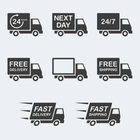 ciężarówka: zestaw ikon dostawy. dostawa następnego dnia, bez opłat i szybka dostawa, bezpłatna wysyłka i szybka wysyłka, 247 i 24 godziny dostawy. ilustracji wektorowych