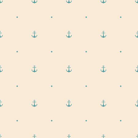 anchor seamless pattern on antique white background, with blue anchor and polka dots ornament. vector illustration Çizim