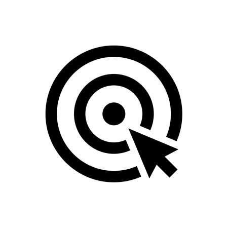 dart on target: choice icon. cursor in the center of dart target. isolated on white background. vector illustration