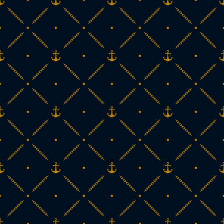 marine seamless pattern background. with golden anchor, diagonal chain and polka dots ornament. vector illustration Çizim