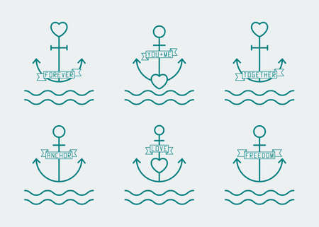 anchor and heart thin line icon set, which symbolize romance, love and freedom of young people. modern minimalistic flat design. isolated on white background. vector illustration