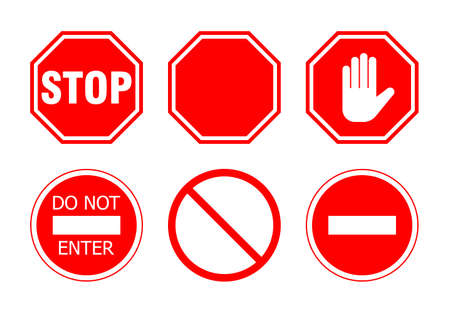 red sign: stop sign set, isolated on white background. vector illustration