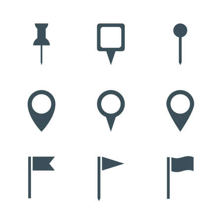pin icon: map pin icon set. isolated on white background. vector illustration