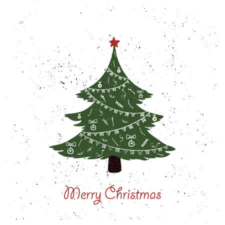 hand drawn vintage christmas tree on grunge background. doodle christmas invitation or greeting card. vector illustration