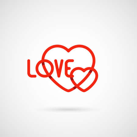 two red heart shape. love symbol for valentines day or wedding. vector illustration