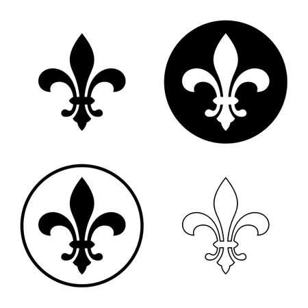 fleur de lis lub kwiat lilii zestaw ikon. royal francuski heraldyczny symbol. samodzielnie na białym tle. ilustracji wektorowych Ilustracje wektorowe