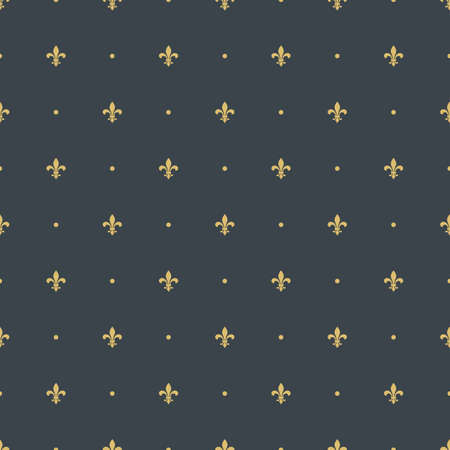 heraldic symbol: fleur-de-lis royal, luxury seamless pattern background. with golden heraldic symbol fleur-de-lis and polka dots ornament. Illustration