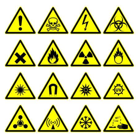 triangular warning hazard signs. isolated on white background.