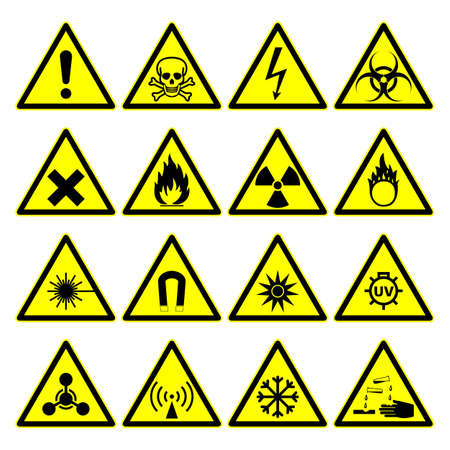 corrosive poison: triangular warning hazard signs. isolated on white background.