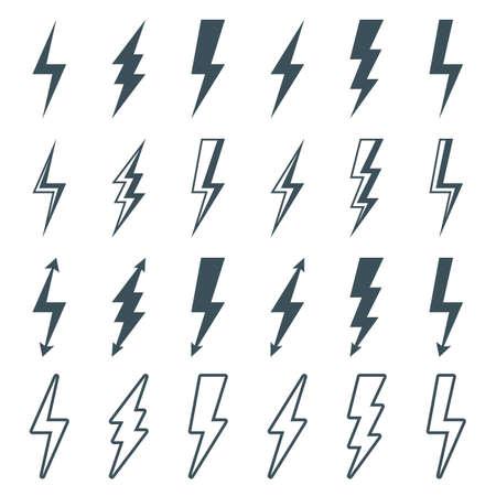 lightning bolt icons set, thunderbolt silhouette sign. outline flash symbol. isolated on white background.